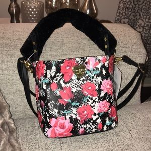 Betsey Johnson mini floral bag with fur handle